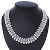 White Imitation Pearl & Transparent Glass Bead Collar Necklace In Silver Tone - 44cm L/ 4cm Ext
