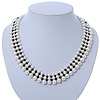 White Imitation Pearl & Black Glass Bead Collar Necklace In Silver Tone - 44cm L/ 4cm Ext