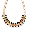 Statement Multicoloured Acrylic Bead Chunky Chain Necklace In Gold Tone - 40cm Length/ 7cm Extension