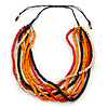 Multi-Strand Red/ Black/ Orange Wood Bead, Black Adjustable Cord Necklace - 46cm to 58cm L