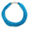 Multistrand Azure Blue Silk Cord Necklace In Silver Tone - 40cm L