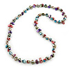 Multicoloured Shell Nugget Long Necklace - 90cm L