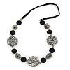 Geometric Wired Bead, Black Ceramic Stone Velour Cord Necklace - 72cm L