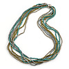 Silver/ Grey/ Olive/ Green Multistrand Glass Bead Long Necklace - 76cm L