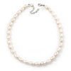 12mm Rice Shaped White Freshwater Pearl Necklace In Silver Tone - 41cm L/ 6cm Ext