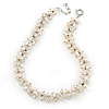 7-8mm White Baroque Freshwater Pearl, Transparent Crystal Bead Cluster Necklace - 42cm L/ 4cm Ext