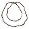 9mm Ringed Shaped Grey Coloured Freshwater Pearl Long Rope Necklace - 116cm L