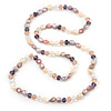 Long Rope Pink/ Lavender/ Purple Baroque Shape Freshwater Pearl, Multicoloured Glass Bead Necklace - 96cm L