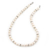 9mm Ringed White Freshwater Pearl With Crystal Rings Necklace In Silver Tone - 43cm L