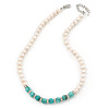 7mm Off Round Cream Freshwater Pearl, Turquoise Stone and Crystal Rings Necklace - 38cm L/ 6cm Ext