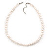 8mm Light Cream Oval Freshwater Pearl Necklace In Silver Tone - 42cm L/ 6cm Ext