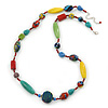 Long Multicoloured Ceramic Bead Necklace - 78cm L/ 7cm Ext