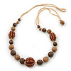 Long Chunky Brown Wood Bead Necklace With Cotton Cords - 80cm L