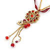 Siam Crystal Flower Pendant With Charms, With GoldTone Chain & Dark Red Organza Ribbon - 38cm L/ 7cm Ext