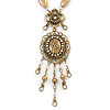 Victorian Style Filigree Oval Beaded Pendant With Chunky Chain In Antique Gold Tone - 40cm L/ 5cm Ext