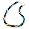 Gold/ Black/ Turquoise Twisted Mesh Necklace - 38cm L/ 4cm Ext