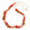 Long Orange, Coral Wood, Resin and Cotton Bead Cord Necklace - 100cm L