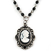 Victorian Style Oval Black Cameo Pendant With Beaded Chain In Pewter Tone - 37cm L