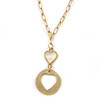 Gold Tone Cut Out Heart/ Mother Of Pearl Heart Pendant with Chunky Oval Link Chain - 40cm L/ 5cm Ext