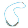 Light Blue Glass Bead With Crystal Rings Magnetic Necklace - 50cm L