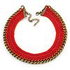 Orange/ Fuchsia Cotton Cord Collar Necklace with Antique Gold Chain - 33cm L/ 8cm Ext