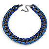 Chunky Gun Metal Oval Link with Blue Silk Ribbon Necklace - 42cm L/ 7cm Ext