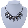 Black Brushed and Polished Nugget Necklace In Gun Metal - 38cm L/ 8cm Ext