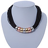 Black Waxed Cord Necklace with Silver/ Gold/ Copper Tone Metal Rings - 40cm L