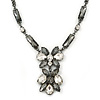 Victorian Style Grey/ Clear Glass Stone V Shape Necklace In Black Tone Metal - 42cm L/ 7cm Ext