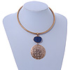 Gold Tone Medallion with Blue Stone Pendant with Flex Collar Necklace - 40cm L/ 7cm Ext