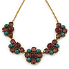 Vintage Inspired Turquoise, Purple Glass Bead Floral Necklace with Gold Tone Chain - 40cm L/ 5cm Ext