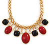 Statement Red/ Black Resin Bead Carm Thick Chunky Gold Link Chain Necklace - 43cm L/ 7cm Ext