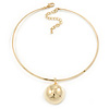 Gold Plated Bar Choker Necklace with Dome Shape Medallion Pendant - 40cm L/ 7cm Ext