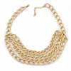 Gold Tone Layered Textured Curb Link Necklace - 42cm L/ 5cm Ext