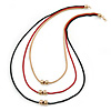 3 Strand, Beaded, Layered Mesh Chain Necklace In Black/ Red/ Gold Tone - 86cm L