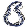 Silver/ Blue/ Black Multistrand Glass Bead Long Necklace - 72cm L
