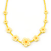 Children's Bright Yellow Floral Necklace with Silver Tone Closure - 36cm L/ 6cm Ext