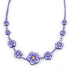 Children's Purple Floral Necklace with Silver Tone Closure - 36cm L/ 6cm Ext