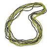 Long Multistrand Light Green/ Grey Glass Bead Necklace - 90cm L