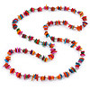 Long Multicoloured Sea Shell Nugget Necklace - 98cm L