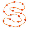 Long Orange Glass Bead, Ceramic Star Necklace - 106cm L