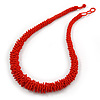 Long Chunky Orange Glass Bead Necklace with Button & Loop Closure - 70cm L/ 3cm Ext