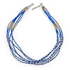 Blue Glass Bead Multistrand Necklace In Silver Tone - 48cm L/ 3cm Ext