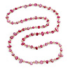Long Fuchsia Shell Nugget and Transparent Glass Crystal Bead Necklace - 110cm L
