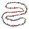 Long Multicoloured Shell Nugget and Glass Crystal Bead Necklace - 110cm L
