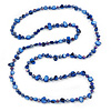 Long Royal Blue Shell Nugget and Glass Crystal Bead Necklace - 110cm L