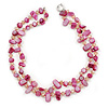 Two Row Fuchsia Shell Nugget and Nude-coloured Glass Crystal Bead Necklace - 44cm L