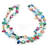 Two Row Multicoloured Shell And Glass Bead Necklace - 44cm L