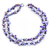 Two Row Purple Shell Nugget and Violet Glass Crystal Bead Necklace - 44cm L