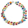 Two Row Multicoloured Shell Nugget and Nude-coloured Glass Crystal Bead Necklace - 44cm L